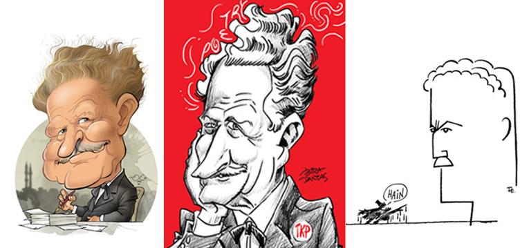 """Karikatürcüler Derneği'nden; """"Nâzım Hikmet Portre Karikatürleri"""" Sergileri"""